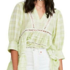NEW Free People Women Time Out Lace Tunic Lime SM